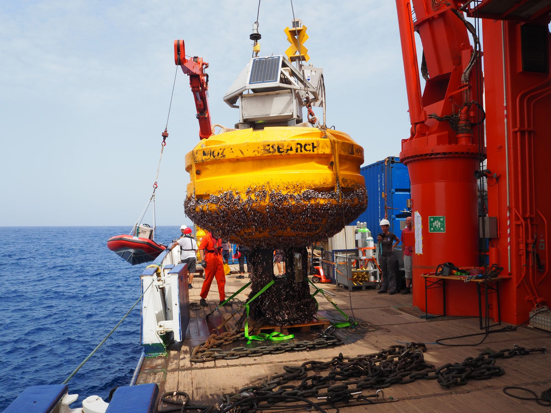 Buoy Carmen on deck of FS Meteor
